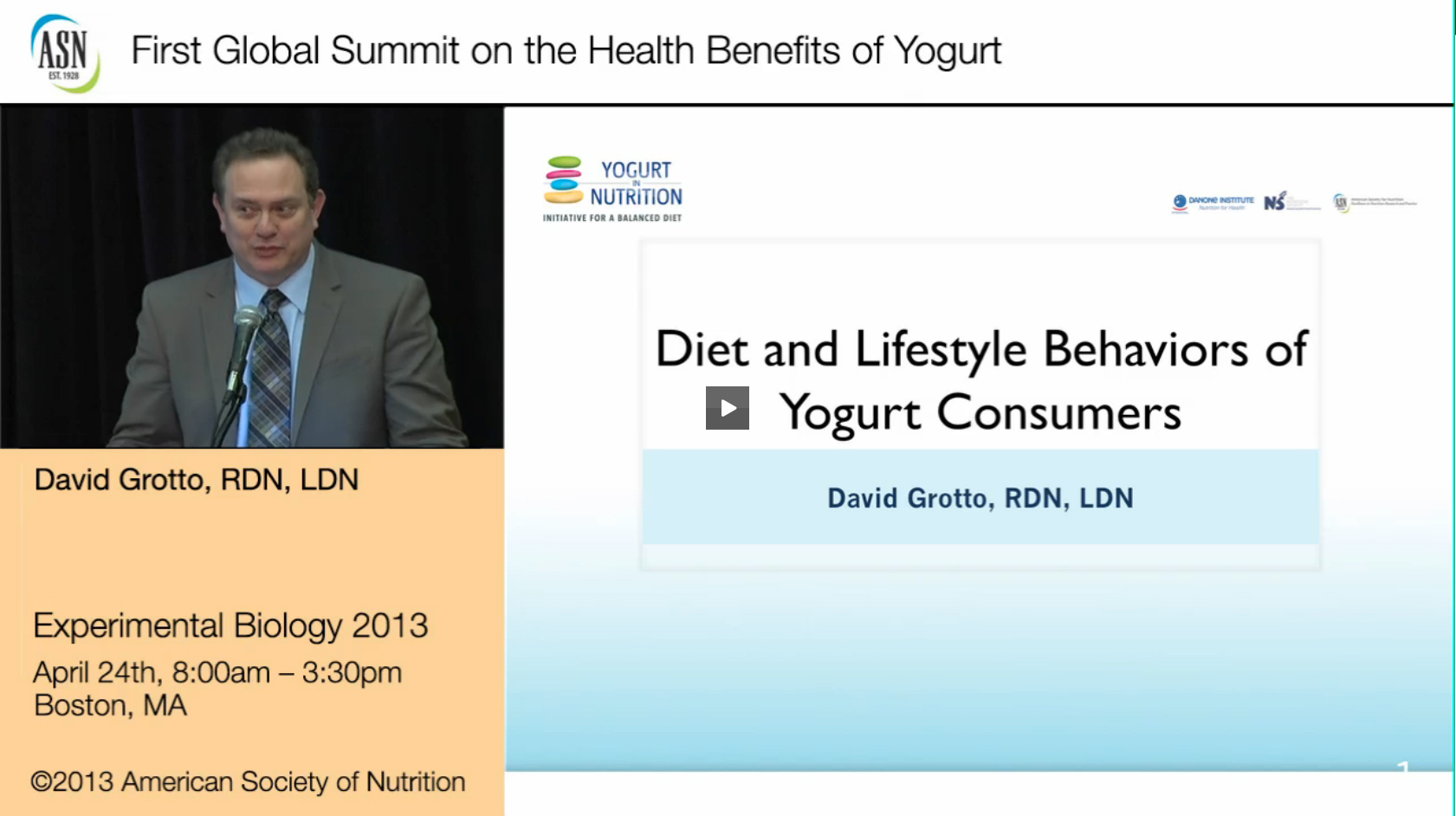 1rst Yogurt Summit ASN Webcast - Diet & Lifestyle Behaviors of Yogurt Consumers by David Grotto ...