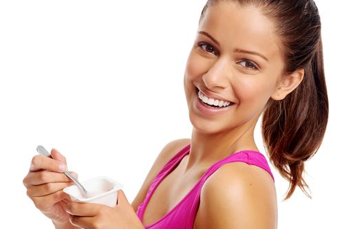 woman eating yogurt and lifestyle