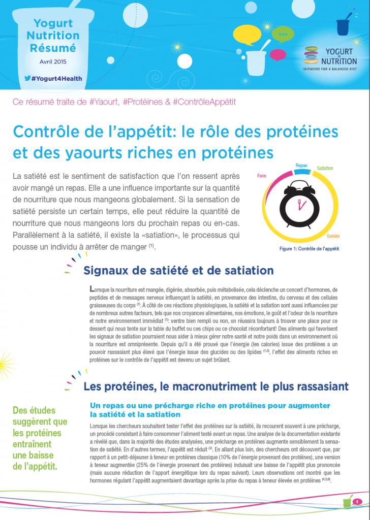 Contrôle de l'appétit: le rôle des protéines et des yaourts riches en protéines