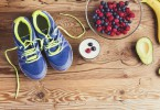 Running shoes and healthy food composition