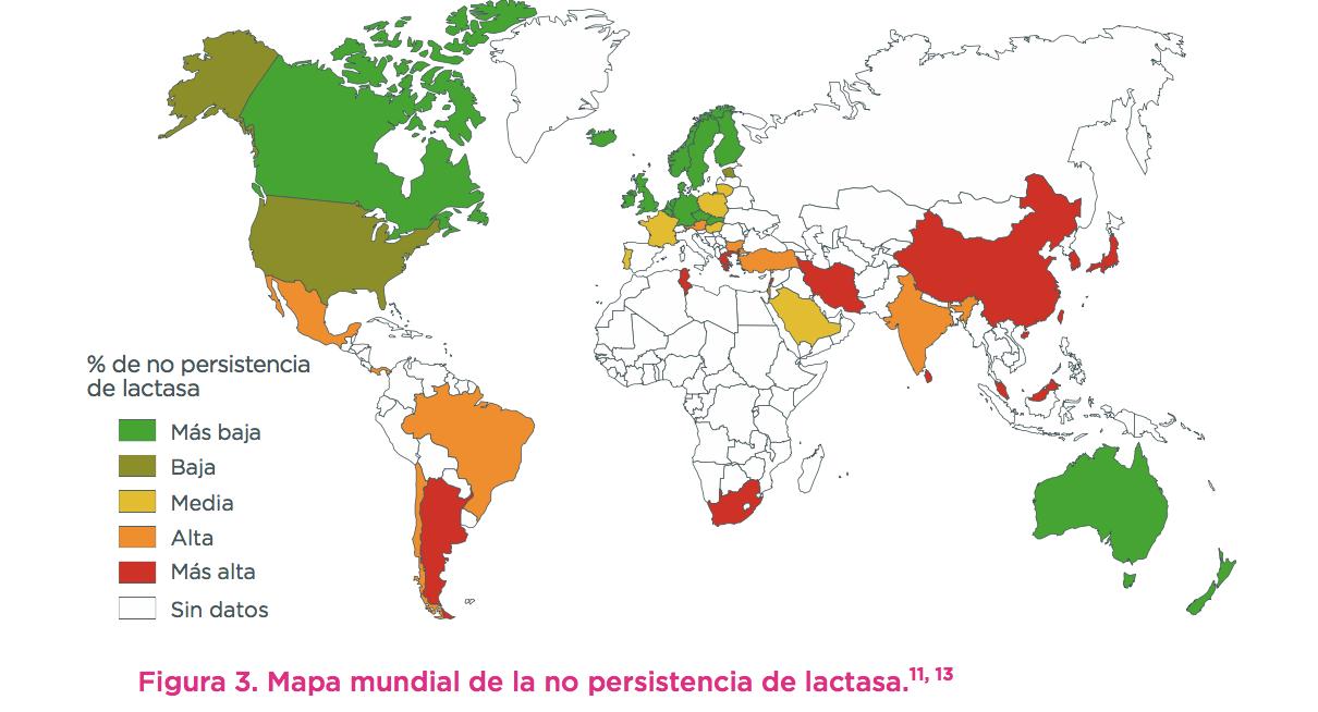 Fig 3 Mapa mundial de la no persistencia de lactasa