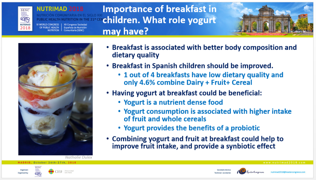 Role of yogurt in the breakfast for children - AM Lopez Sobaler @Nutrimad YINI Symposium 2018