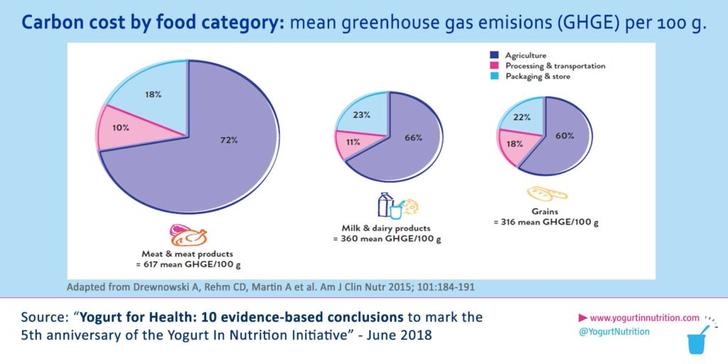 Carbon cost by food category: mean greenhouse gas emissions (GHGE) per 100 g