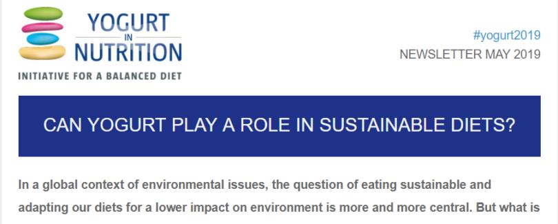 YINI NL May 2019 - Yogurt and sustainable diets