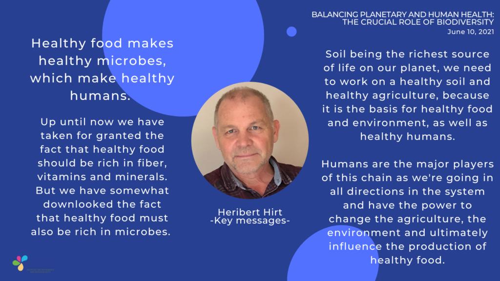 key messages by Heribert Hirt - soil microbiome - yogurt in nutrition